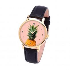Наручные часы TIA Ананас, черный ремешок, золотистый корпус