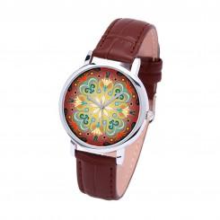 Наручные часы TIA Абстрактные цветы, коричневый ремешок, серебристый корпус