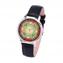 Наручные часы TIA Абстрактные цветы,черный ремешок, серебристый корпус