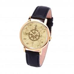 Наручные часы TIA 4 стороны света, черный ремешок, золотистый корпус