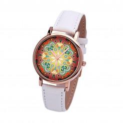 Наручные часы TIA Абстрактные цветы, белый ремешок, корпус розовое золото
