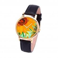 Наручные часы TIA Подсолнухи-Ван Гог, черный ремешок, золотистый корпус