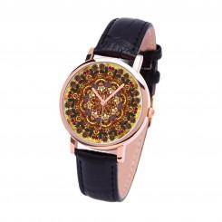 Наручные часы TIA Бохо, черный ремешок, корпус розовое золото
