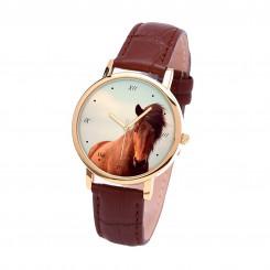 Наручные часы TIA Рыжий конь и залив, коричневый ремешок, золотистый корпус