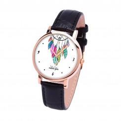 Наручные часы TIA Позволь мне поймать тебя, черный ремешок, корпус розовое золото