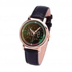 Наручные часы TIA Надежда, черный ремешок, корпус розовое золото