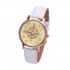 Наручные часы TIA 4 стороны света, белый ремешок, корпус розовое золото
