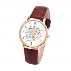 Наручные часы TIA  Поиск, коричневый ремешок, золотистый корпус