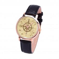 Наручные часы TIA 4 стороны света, черный ремешок, корпус розовое золото