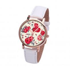Наручные часы TIA Красные Розы, белый ремешок, корпус розовое золото