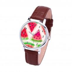 Наручные часы TIA Арбуз, коричневый ремешок, серебристый корпус