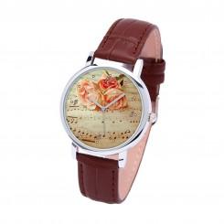 Наручные часы TIA Музыка и цветы, коричневый ремешок, серебристый корпус