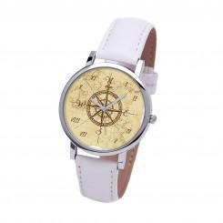 Наручные часы TIA 4 стороны света, белый ремешок, серебристый корпус