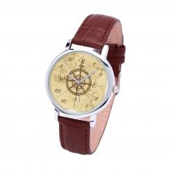 Наручные часы TIA 4 стороны света, коричневый ремешок, серебристый корпус