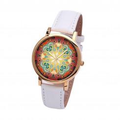 Наручные часы TIA  Абстрактные цветы, белый ремешок, золотистый корпус