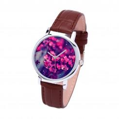 Наручные часы TIA Маленький фиолетовый цветок, коричневый ремешок, серебристый корпус