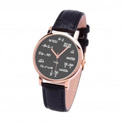 Наручные часы TIA  Математика на сером, черный ремешок, корпус розовое золото
