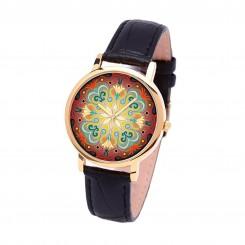 Наручные часы TIA Абстрактные цветы, черный ремешок, золотистый корпус