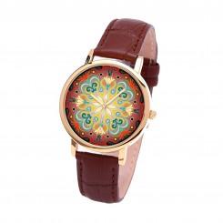 Наручные часы TIA Абстрактные цветы, коричневый ремешок, золотистый корпус
