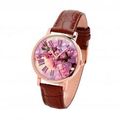 Наручные часы TIA Цветок сакуры, коричневый ремешок, корпус розовое золото