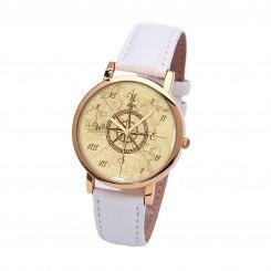 Наручные часы TIA 4 стороны света, белый ремешок, золотистый корпус
