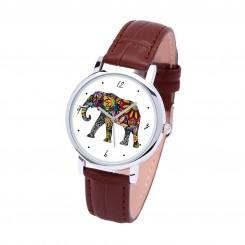 Наручные часы TIA Слон, коричневый ремешок, серебристый корпус