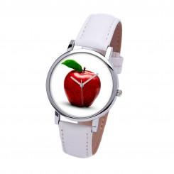Наручные часы TIA Яблоко,белый ремешок, серебристый корпус