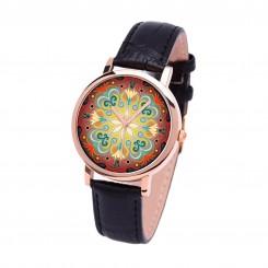 Наручные часы TIA Абстрактные цветы, черный ремешок, корпус розовое золото