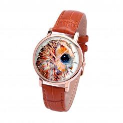 Наручные часы TIA Глаз совы, рыжий ремешок, корпус розовое золото