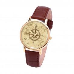 Наручные часы TIA 4 стороны света, коричневый ремешок, золотистый корпус