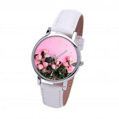Наручные часы TIA Розовые Розы,белый ремешок, серебристый корпус