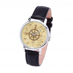 Наручные часы TIA 4 стороны света, черный ремешок, серебристый корпус