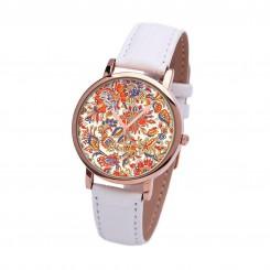 Наручные часы TIA Оранжевые цветы, белый ремешок, корпус розовое золото
