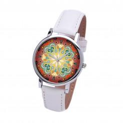 Наручные часы TIA Абстрактные цветы, белый ремешок, серебристый корпус