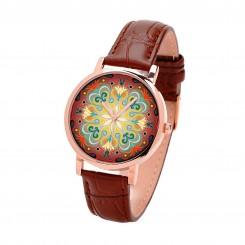 Наручные часы TIA Абстрактные цветы, коричневый ремешок, корпус розовое золото
