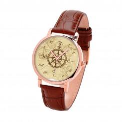 Наручные часы TIA 4 стороны света, коричневый ремешок, корпус розовое золото
